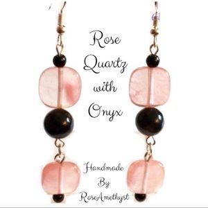 HP• Rose Quartz and Onyx Earrings